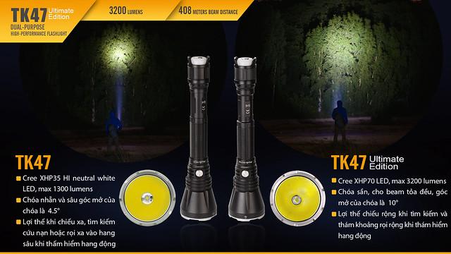 So sánh Đèn pin Fenix TK47 và TK47UE 2