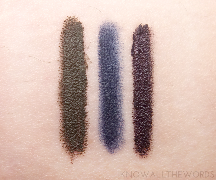 avon glimmersticks liqui-glide eyeliner in jade, navy, and black plum (3)