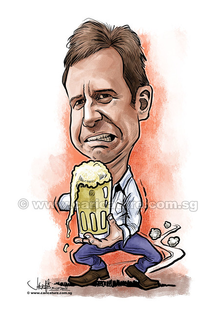 german holding beer digital caricature for PropertyGuru (watermarked)