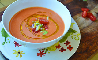 Silky Smooth Tomato Gazpacho via filled with bright summer produce, a secret ingredient and a bit of a kick from tart vinegar via LittleFerraroKitchen.com | by FerraroKitchen1