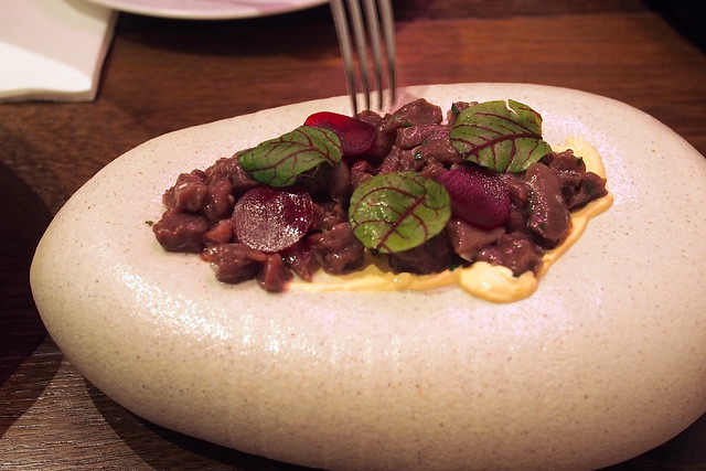 kangaroo ceviche, with pickled beetroot, blood orange and juniper. Drew Nocente, Salted and Hung, Purvis Street, Singapore