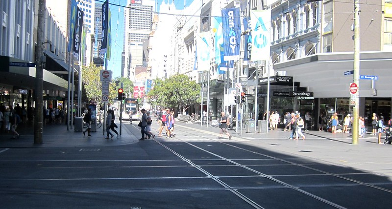 Eastern entrance to Bourke Street Mall