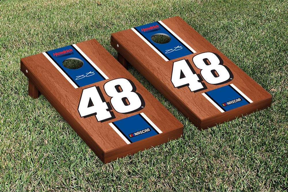 JIMMIE JOHNSON #48 CORNHOLE GAME SET ROSEWOOD STAINED STRIPE VERSION (1)