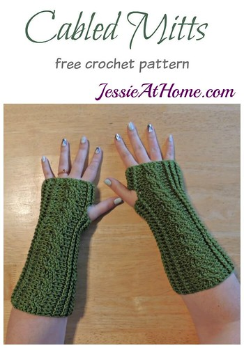 Cabled Mitts free crochet pattern by Jessie At Home Flickr
