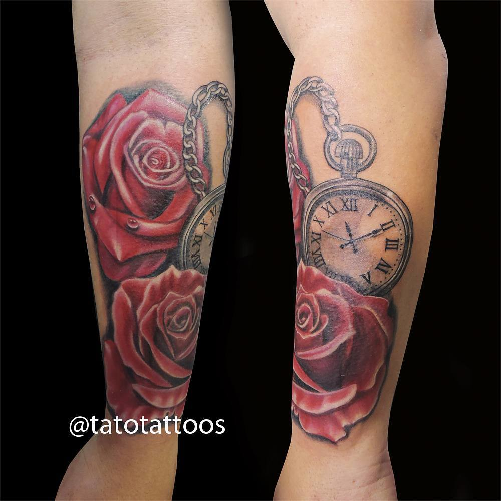 Rosas y reloj de bolsillo roses and pocketclock tato done flickr rosas y reloj de bolsillo roses and pocketclock tato done at rock city tattoo shop tag thecheapjerseys Images