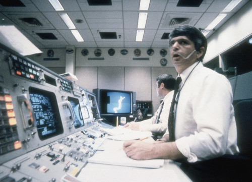 Frederick Gregory and Richard O Covey, at Mission Control in Houston watch as the Challenger shuttle explodes on take-off, killing all seven members of its crew. January 28, 1986