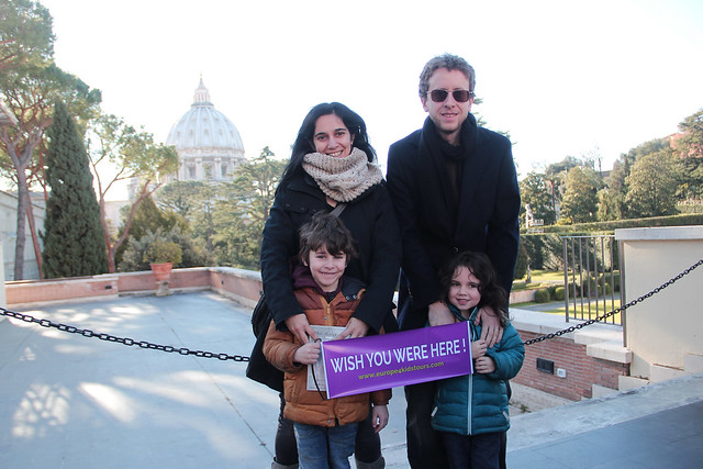 This is us in the first Vatican courtyard. Tip 1 how to visit the Vatican with kids: book a private tour