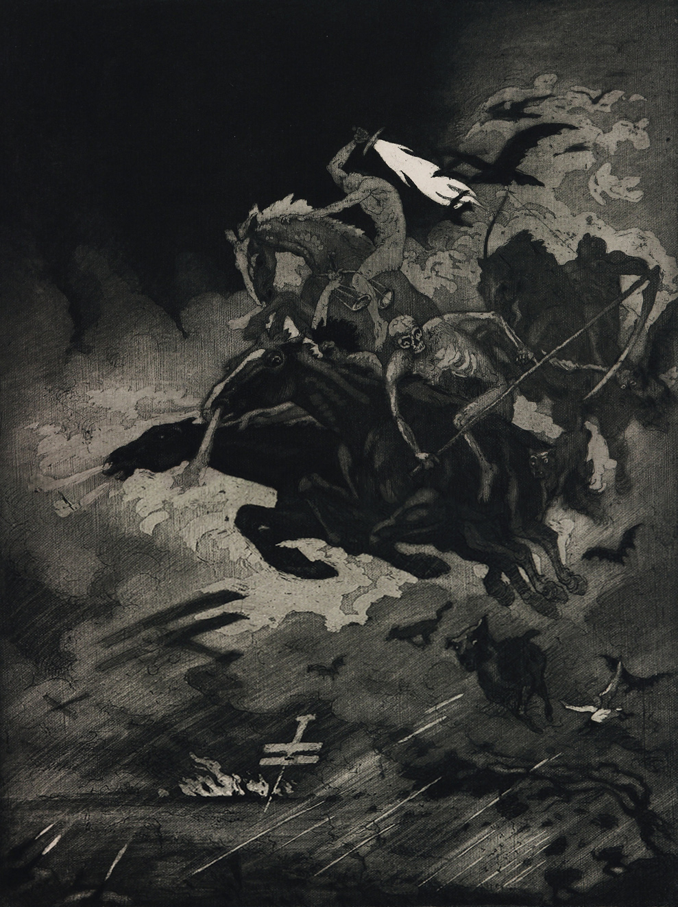 "Ludwig Hesshaimer - Horsemen of the Apocalypse - ""And over man and beast and earth the horsemen of the apocalypse spread unspeakable horrors."""