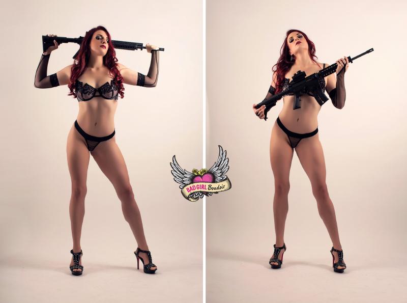 military gun boudoir poses | studio