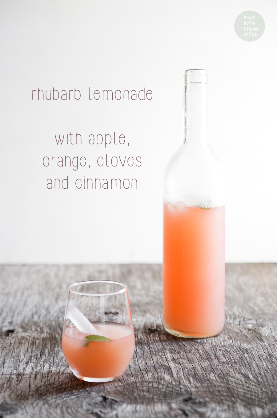 Rhubarb lemonade with apple, orange, cloves and cinnamon