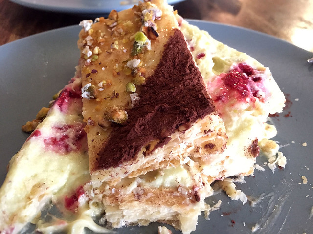 Pistachio & raspberry mille-feuille