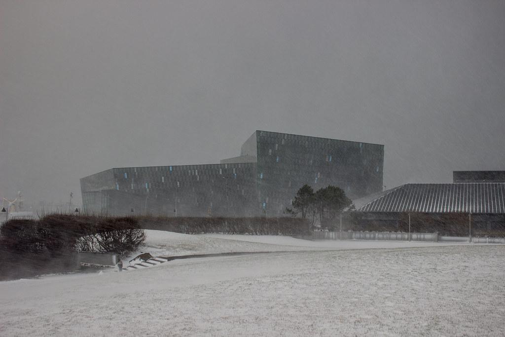 Harpa, Reykjavik, in a snowstorm
