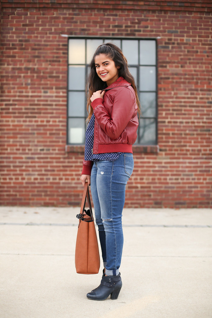 red leather bomber jacket, winter outfit, Nashville fashion blogger