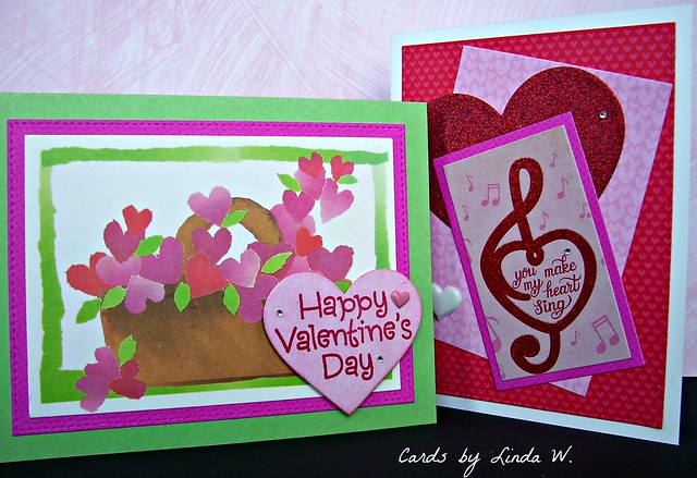 Patterned paper Valentine pair