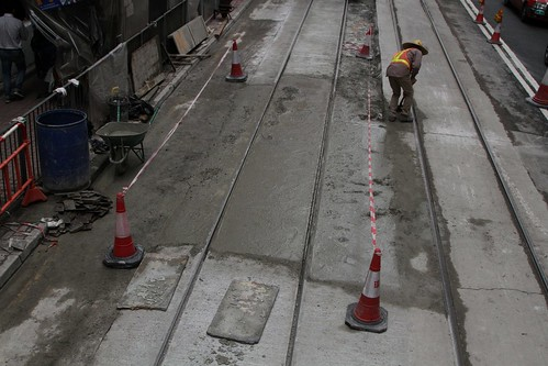 Relaid section of tram track following the concrete pour