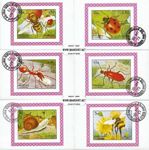 Známky Sharjah 1972 hmyz, razítkované hárčeky