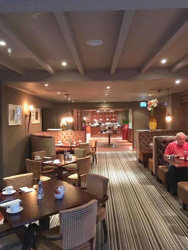 Breakfast at Worsley Park Marriott Hotel grill in the park restaurant