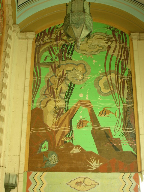 Art nouveau mural on porch of catalina casino bldg for Art nouveau mural