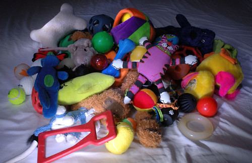 Pile of Dog Toys | This photo was taken in the dark and