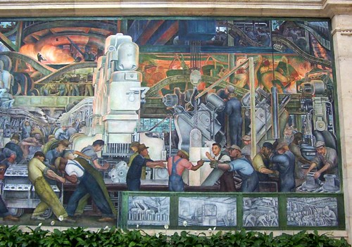 Rivera court detroit institute of arts a section of the for Diego rivera ford mural