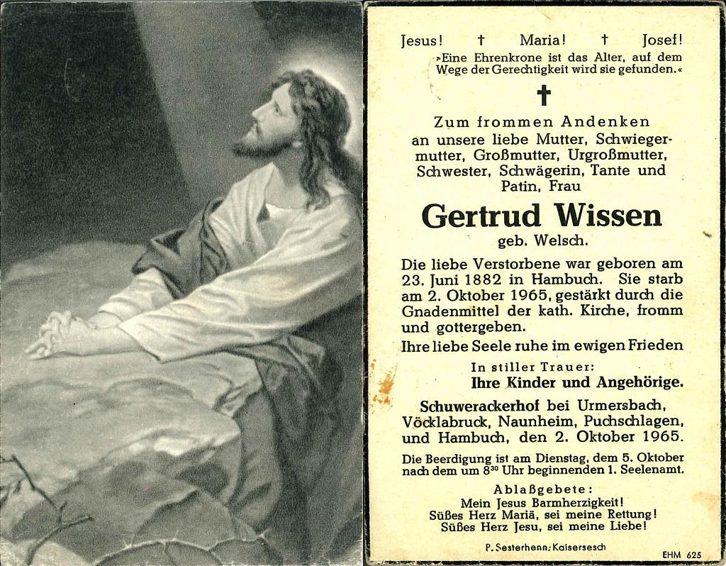 Totenzettel Wissen, Gertrud geb. Welsch † 02.10.1965