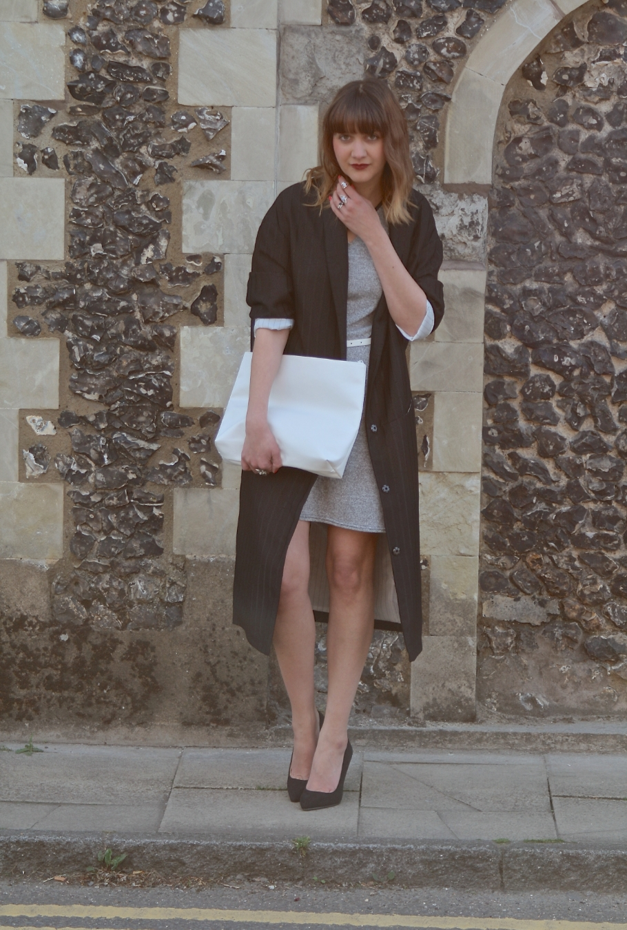 oversized white clutch