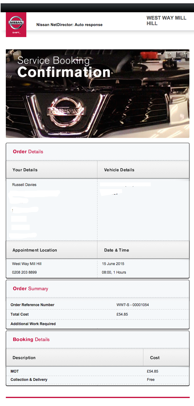 Not a service booking confirmation