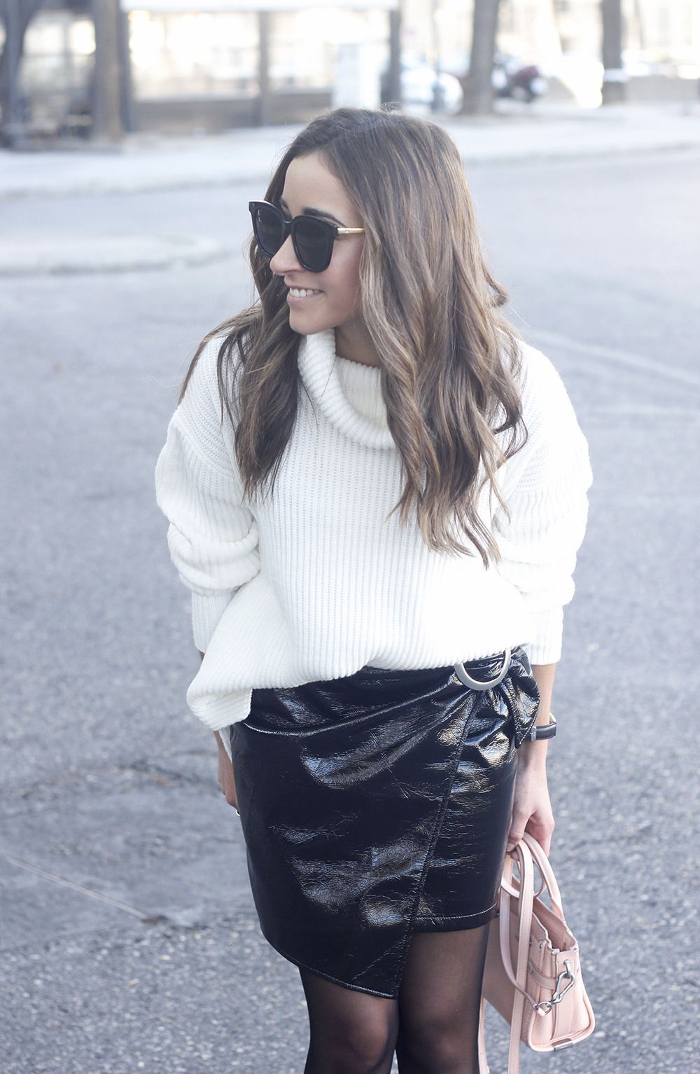 Black Patent leather skirt white sweater coach bag heels outfit style fashion winter10