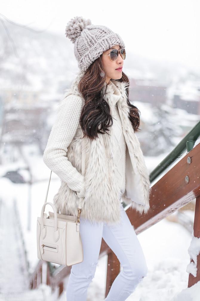 apres ski winter white faux fur vest outfit petite style