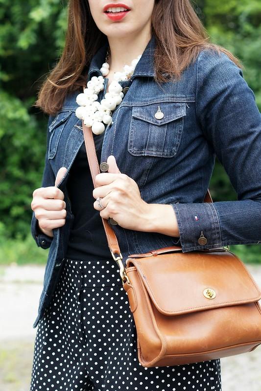 black polka dot shorts, black tee, jean jacket, white mocassins