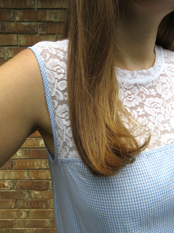 Gingham and Lace Blouse - After