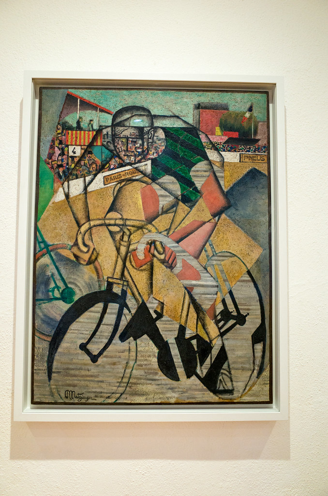 Despite what you may have first thought, this is not a pre-Renaissance Christ Child, but rather a 20th century painting of a cyclist!