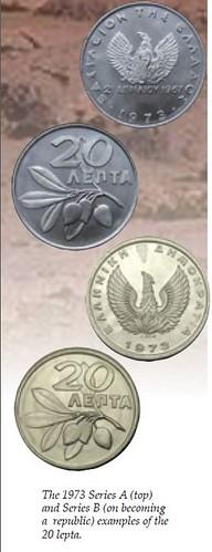 1973 Greece 20 Lepta coins