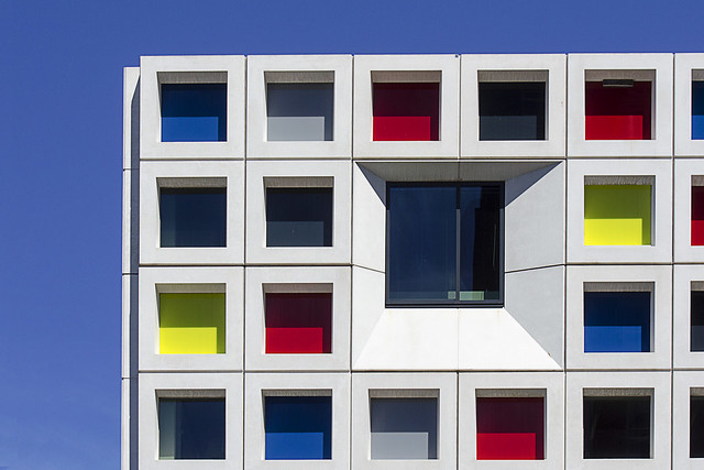 Facade with primary colors