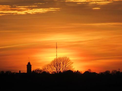 Sunset over Duke of York's Military School, Dover, Kent
