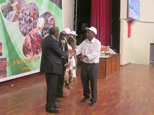 H.E Ato Abay Woldu, President of the Tigray Regional National State, handing over the trophy to LIVES' Regional Coordinator, Dr Gebremedihin Woldewahid during the 8th Farmers Festival held on May 28th, 2015, Mekele (photo credit: ILRI\Dawit Weldemariam)
