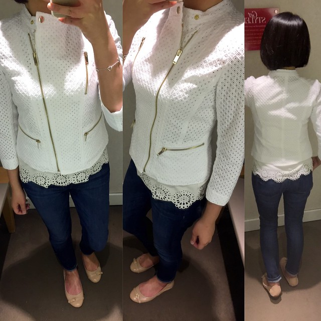 Ann Taylor Embroidered Moto Jacket, size 0P