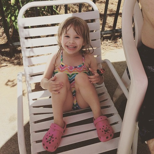Lucy's party was yesterday, so we celebrated her actual birthday with a couple of hours at the pool with her cousins.