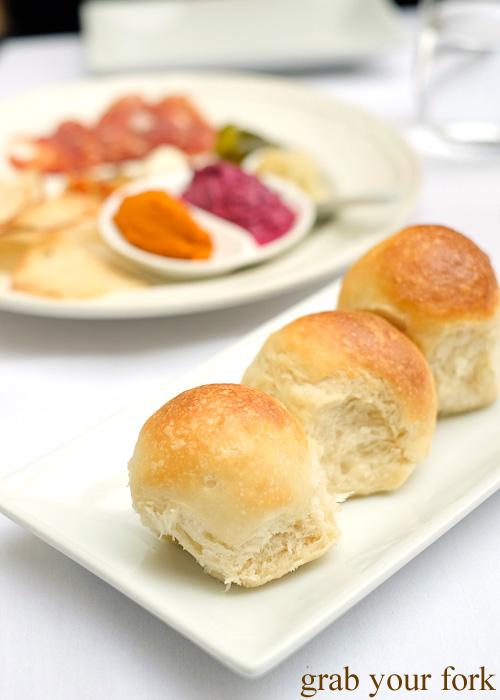 Housemade milk buns at Geoff Jansz Farm Table Restaurant, Mittagong