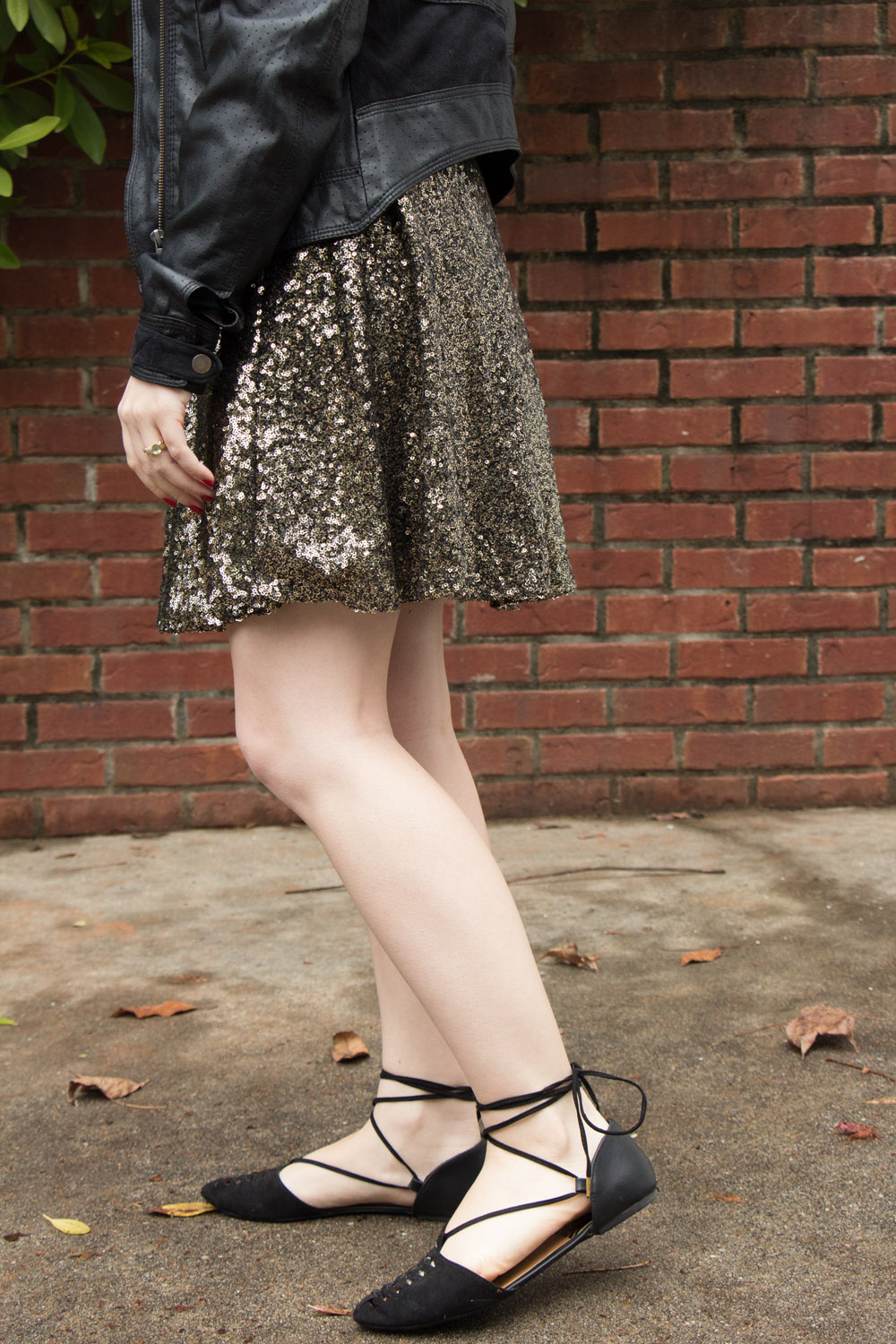 Antique Gold Metallic Sequin Skater Skirt and Black Lace Up Flats