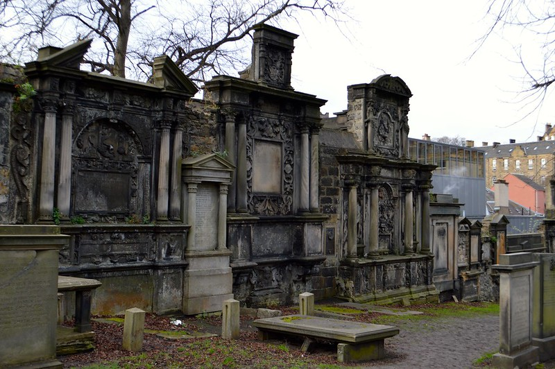 This is a photo of graves and monuments in greyfriars kirkyard in edinburgh