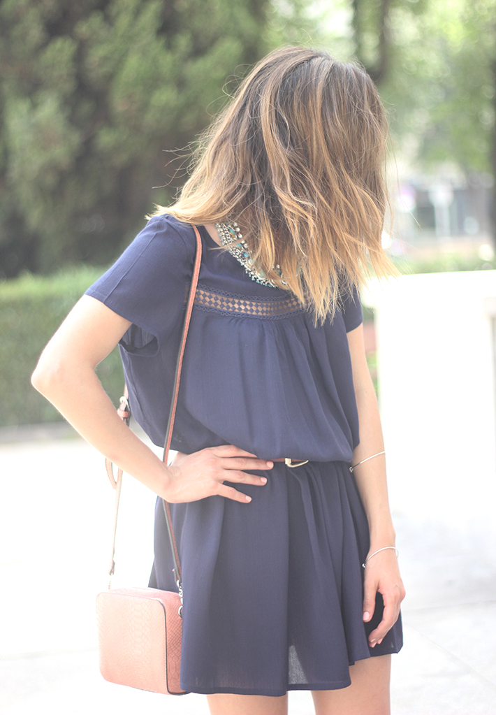 Blue dress Sheinside Wedges summer outfit22