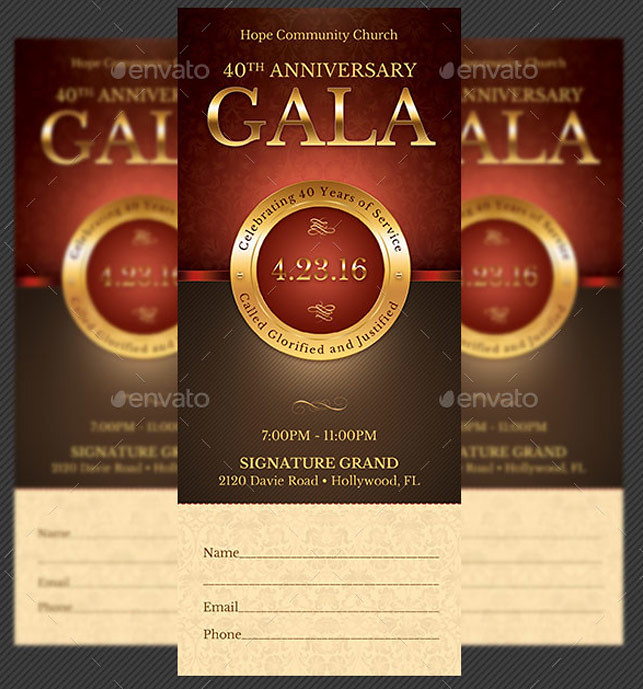 Church Anniversary Gala Ticket Template Church Anniversary – Banquet Ticket Template