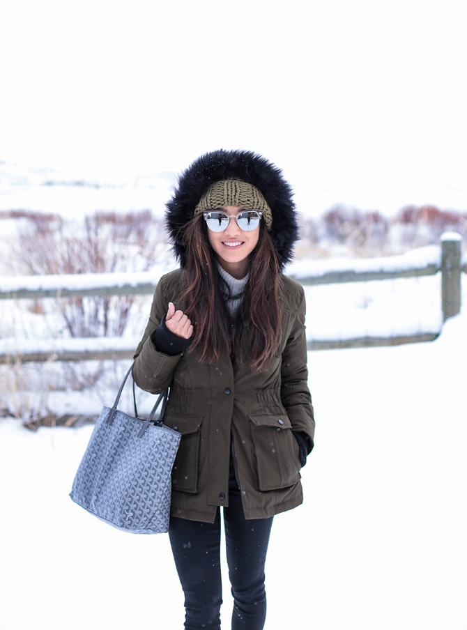 army green jacket parka park city outfit ideas