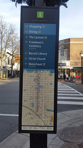 Map panel, Alexandria wayfinding system, southwest corner of Washington Blvd. and King Street