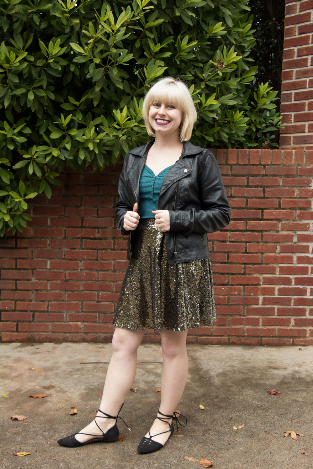 The Fringe Off Collaboration Antique Gold Sequined Skirt Green Henley and Lace Up Flats