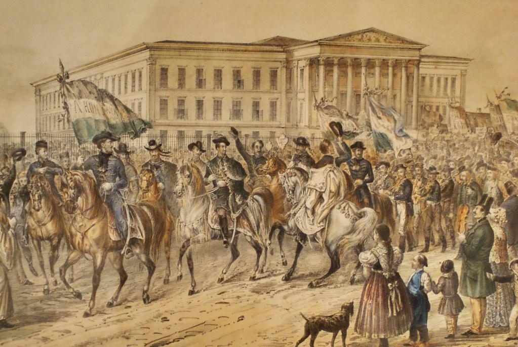 Musée National de Budapest en fond de la révolution d'indépendance hongroise de 1848.