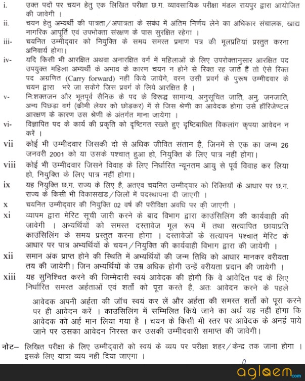CG Vyapam Food Inspector Recruitment 2017