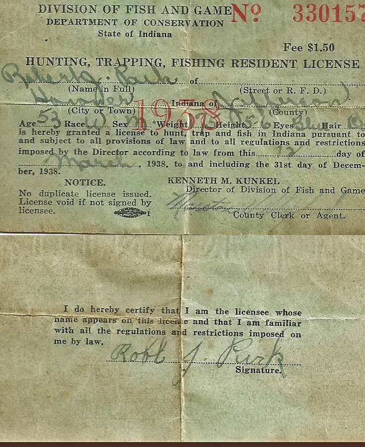 1938 indiana hunting fishing license i found this for Fishing license indiana