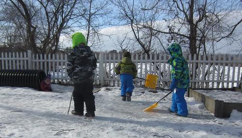 shoveling off the skating rink